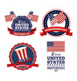 united states independence day labels collection vector image