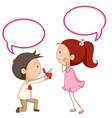 a couple propose with speech balloon vector image vector image