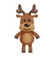 a funny knitted reindeer toy on white background vector image