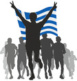 Athlete with the Greece flag at the finish vector image