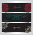 banners with decorative mandala designs vector image vector image