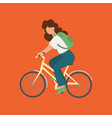 bicycle girl flat style woman tourism vector image