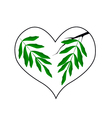 Branch of Green Leaves in A Heart Shape vector image vector image