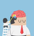 Businessman wash and clean the brain of his vector image vector image