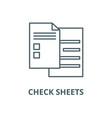 check sheets line icon check sheets vector image vector image