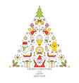 Christmas Line Icons Label vector image vector image