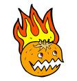 comic cartoon flaming pumpkin vector image vector image