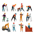 construction workers set vector image