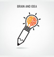 Creative brain and pencil vector image vector image