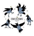 crows in crowns set isolated birds on white vector image vector image