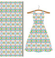 dress fabric with green geometric mosaic vector image vector image