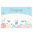 easter white blue certificate with bunny vector image