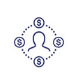 employee costs or salary icon on white vector image vector image