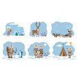 eskimos families and characters with animals set vector image vector image