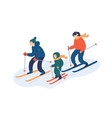 family skiing together flat vector image