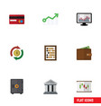 flat icon incoming set of diagram chart growth vector image vector image