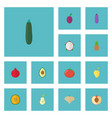 flat icons aubergine pitaya muskmelon and other vector image vector image