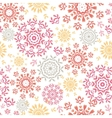 Folk floral circles abstract seamless pattern vector image