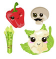 funny cartoon cute cabbage red ripe pepper green vector image vector image