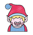 grated merry christmas elf with cute hat vector image