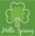 Hello Spring Shamrock Card vector image vector image