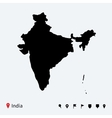 High detailed map of India with navigation pins vector image