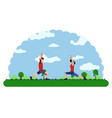 landscape of a park with people doing exercises vector image vector image
