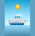 large cruise ship on ocean with sky sun and vector image vector image