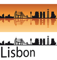 Lisbon skyline in orange background vector image