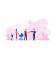 man selling or renting house to couple young vector image vector image