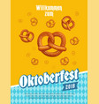 oktoberfest poster with pretzels and traditional vector image vector image