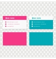 Pink and blue business card template design vector image
