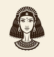 portrait beautiful young woman girl in ethnic vector image vector image