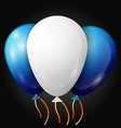 realistic white blue balloons with ribbons vector image vector image