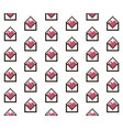 red and white pixelated hearts in letter digital vector image vector image
