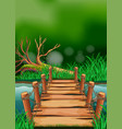 scene with wooden bridge across the river vector image vector image