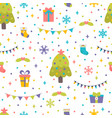 seamless pattern with christmas tree gifts and vector image vector image