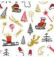 seamless traditional christmas background vector image vector image