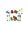 set of isometric city elements fire vector image vector image