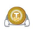 silent tether coin mascot cartoon vector image vector image