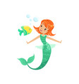 smiling mermaid swimming underwater with little vector image