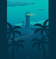 summer tropical poster with lighthouse sea and vector image