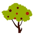 Tall tree with fruits icon flat style vector image vector image