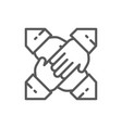 teamwork team hands line icon vector image