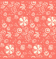 tender peach color doodle floral pattern vector image vector image