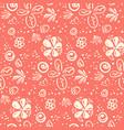 tender peach color doodle floral pattern vector image