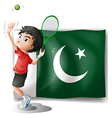 The Pakistan flag and the tennis player vector image vector image