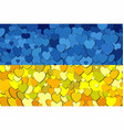 ukraine flag made of hearts background vector image vector image