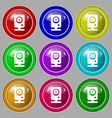 Web cam icon sign symbol on nine round colourful vector image