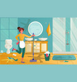 yound woman cleaning dirty bathroom housewife vector image vector image